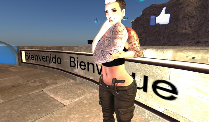 This is nowhere near the size of the baby that accosted me when I first joined Second Life. This lady is also rolling out the welcome mat with her 2 pistols ready to go!